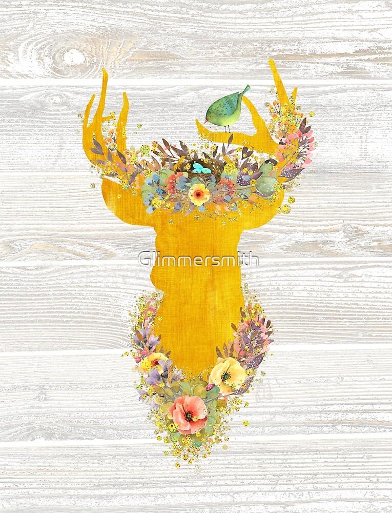 Deer Enchanted Forest, golden buck, birds nest, flowers, bird by Glimmersmith