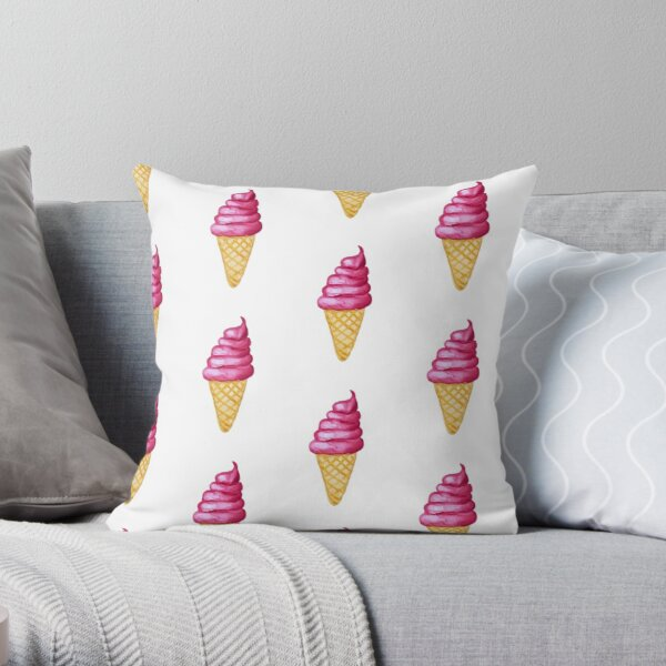 Watercolor Ice Cream Cone Soft Serve Ice Cream Throw Pillow