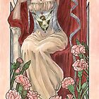 Veiled Lady of January with Pink Carnations and Snowdrop Birth Flower Corset Mucha Inspired Birthstone Series by angelasasser