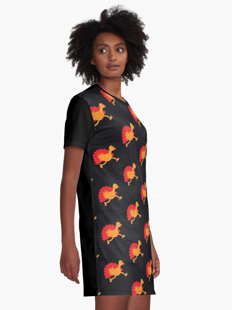 Alternate view of Thanksgiving Turkey on the RUN! Graphic T-Shirt Dress