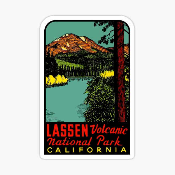 Mount Lassen Volcanic National Park Vintage Travel Decal Sticker