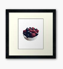 Raspberry Blueberry Fruit Bowl Design Framed Print