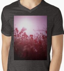 Red wild flowers poppies on hot summer day Hasselblad square medium format film analogue photography Men's V-Neck T-Shirt
