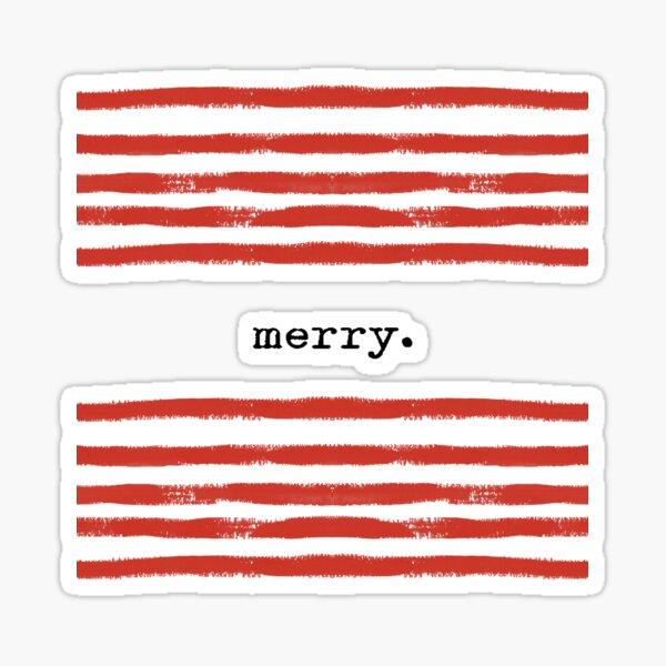 Red stripes-merry Sticker
