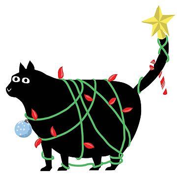 Christmas Cat in Lights by mfarmand