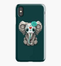 Teal Blue Day of the Dead Sugar Skull Baby Elephant iPhone Case