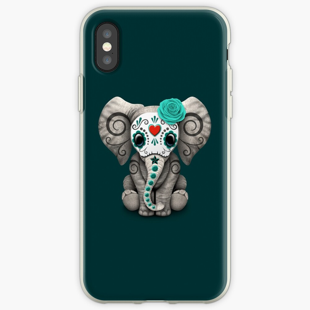 Teal Blue Day of the Dead Sugar Skull Baby Elephant iPhone Case & Cover