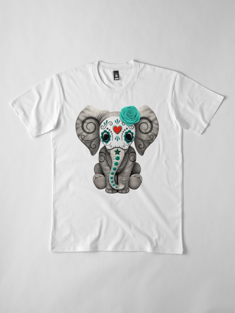Alternate view of Teal Blue Day of the Dead Sugar Skull Baby Elephant Premium T-Shirt