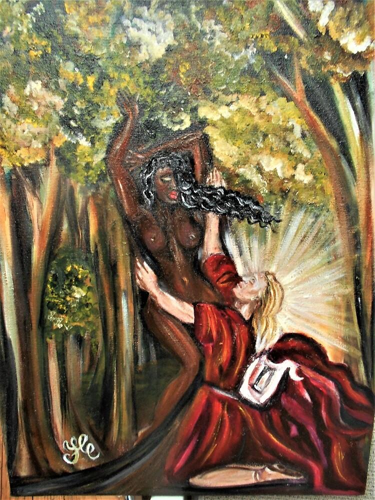 """Apollo & Daphne "" (Reproduction) Interracial Lovers Series by Yesi Casanova by Yesi Casanova"