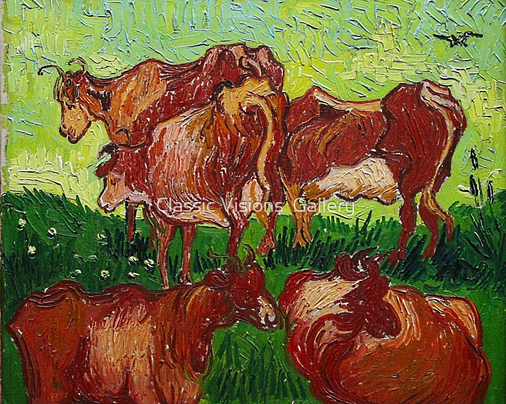 'Les Vaches' by Vincent Van Gogh (Reproduction) by Roz Abellera