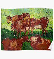 'Les Vaches' by Vincent Van Gogh (Reproduction) Poster