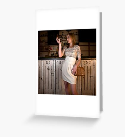 Lelia in 'Tulip skirt with boned waist and Jersey Tank Top' Greeting Card