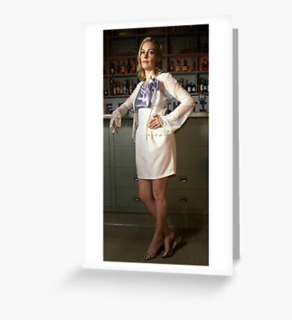 Bridget in 'Lace Cardigan, Tulip skirt and Silk Cotton Singlet with hailspots and Bow' Greeting Card