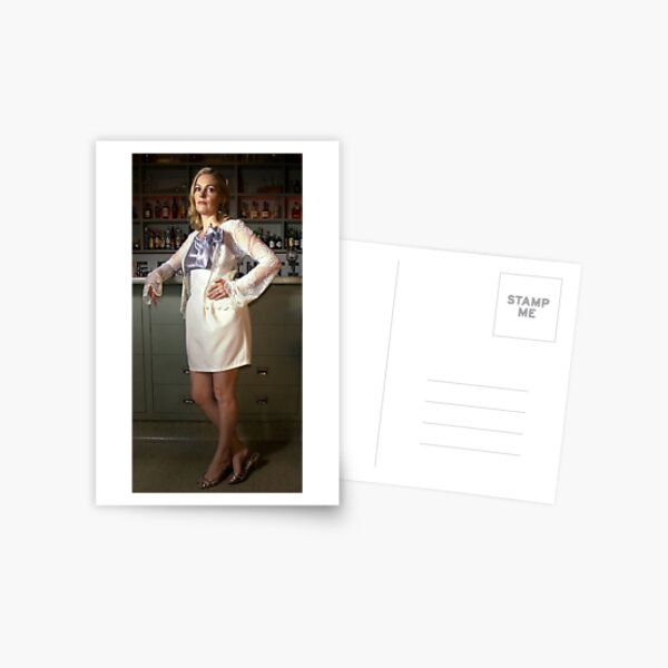Bridget in 'Lace Cardigan, Tulip skirt and Silk Cotton Singlet with hailspots and Bow' Postcard