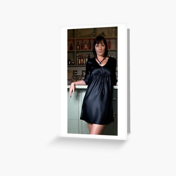 Lisa in 'Charmuse Kaftan Dress with bead trim' Greeting Card