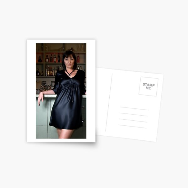 Lisa in 'Charmuse Kaftan Dress with bead trim' Postcard