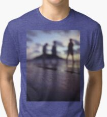 Chillout silhouette of people walking on beach dusk sunset evening sky Hasselblad medium format film analogue photo Tri-blend T-Shirt