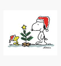 Christmas Tree with Snoopy and Woodstock (Peanuts Comic) Photographic Print