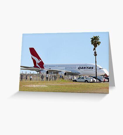 Qantas A380 At Perth Airport  Greeting Card