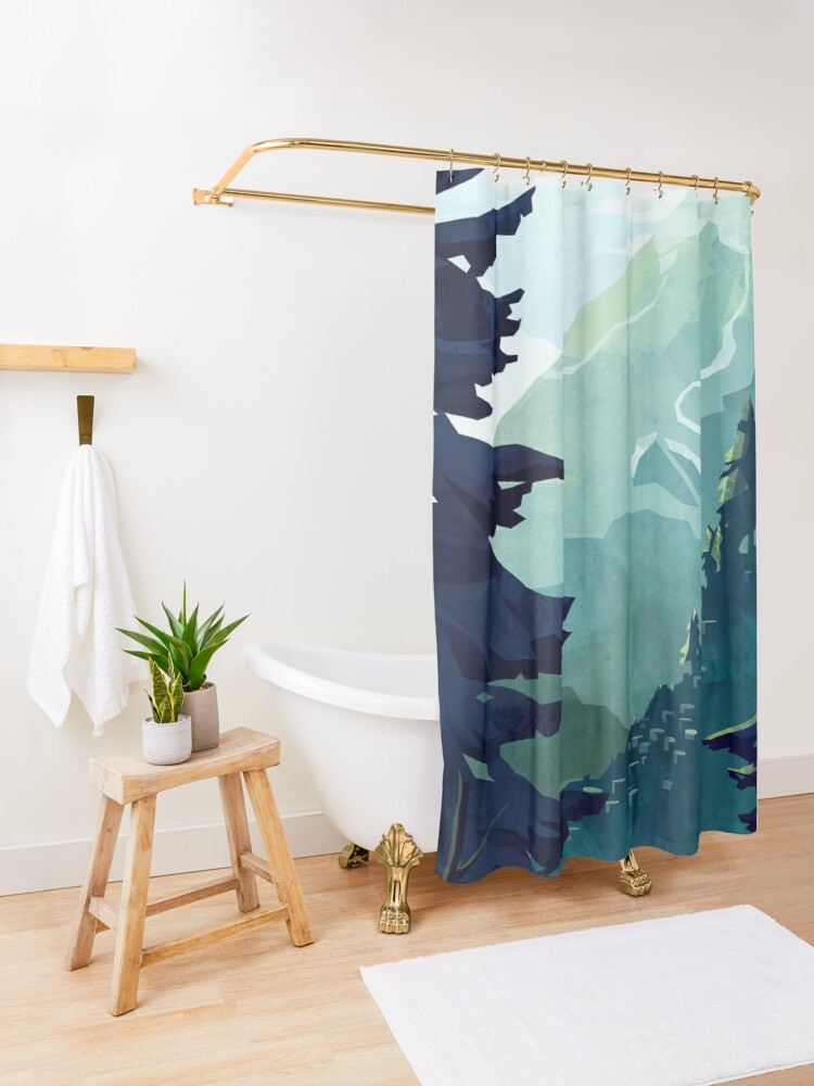 Alternate view of Canadian Mountain Shower Curtain