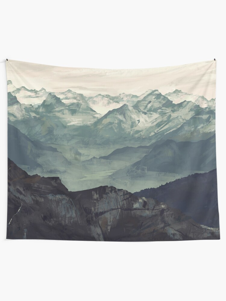 Alternate view of Mountain Fog Wall Tapestry