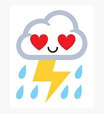 Thunderstorm Emoji  Photographic Print