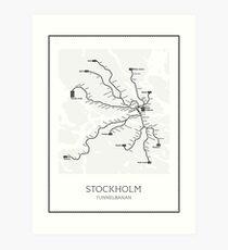 Stockholmer U-Bahn-Karte Geographisch Kunstdruck