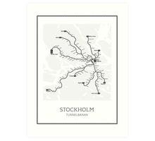 Stockholm Subway Map Geographic Art Print
