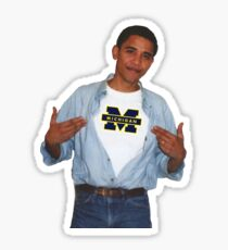 Obama wearing Michigan shirt Sticker