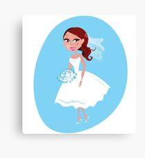 Wedding girl white blue Canvas Print