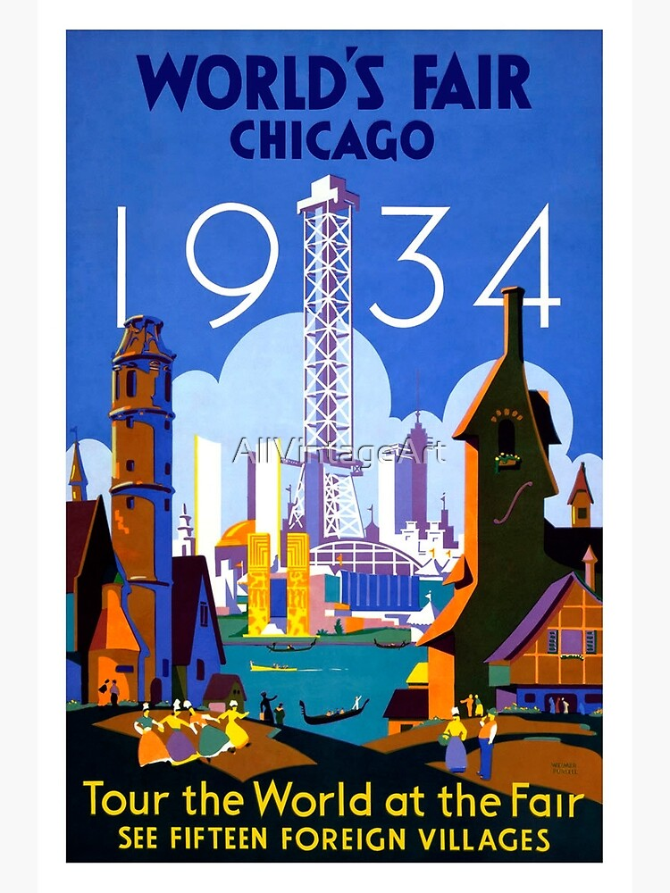 Vintage Chicago Travel Poster by AllVintageArt