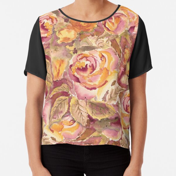 Watercolor Hand-Painted Red Yellow Autumn Fall Roses Chiffon Top