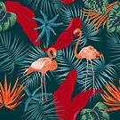 Pink flamingo and tropical leaves by Lusy Rozumna