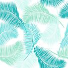 Blue tropical leaves by Lusy Rozumna