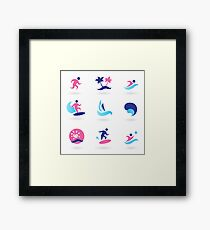 Beach icons blue with pink Framed Print