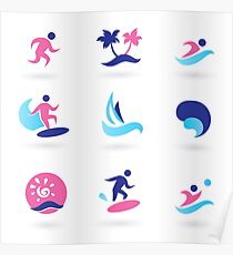 Beach icons blue with pink Poster