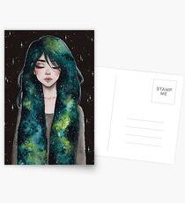 Grüne Galaxie Haare Postkarten