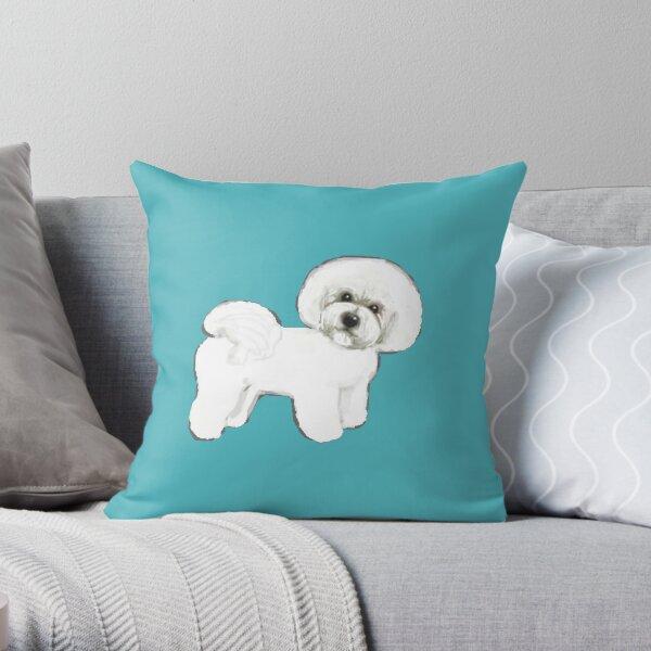 Bichon Frise dogs Fun Summer Turquoise Throw Pillow