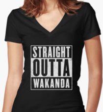 Straight Outta Wakanda Women's Fitted V-Neck T-Shirt