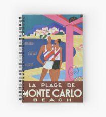 Vintage Monte Carlo Travel Poster Spiral Notebook