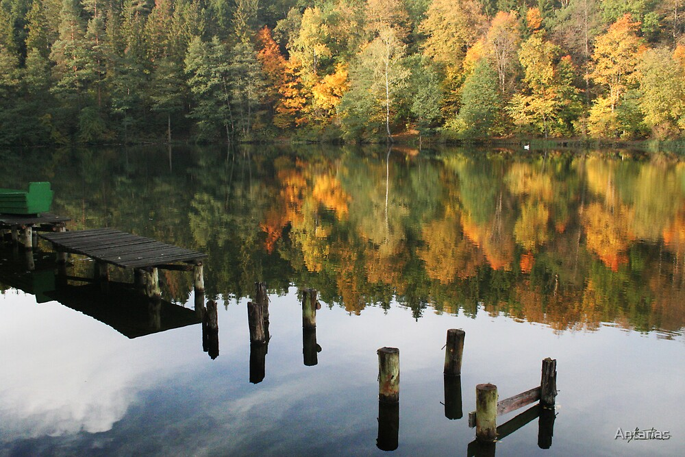 The old wharf in the autumn morning in fall by Antanas