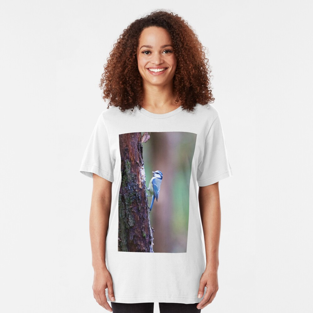 Blue Tit (Cyanistes caeruleus) Slim Fit T-Shirt