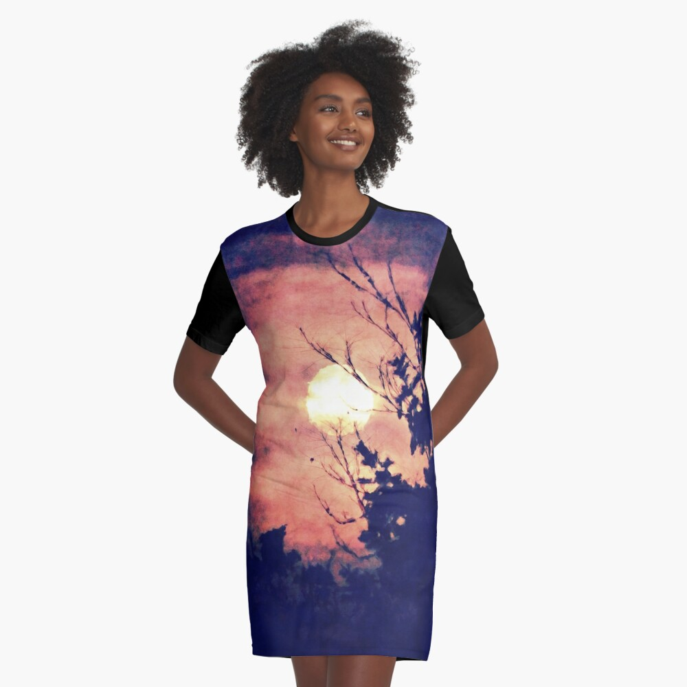 Full Moon Silhouette Graphic T-Shirt Dress