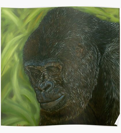 """If you could read my mind"" - Gorilla Oil painting Poster"