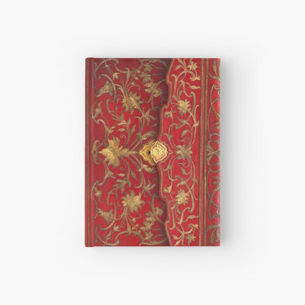 Red 'portefuille' book cover with gold thread and lock, 1764 Hardcover Journal