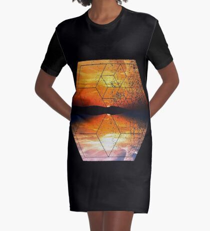 Sunset Water Reflection - Geometric Design Graphic T-Shirt Dress