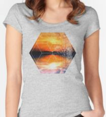 Sunset Water Reflection - Geometric Design Women's Fitted Scoop T-Shirt