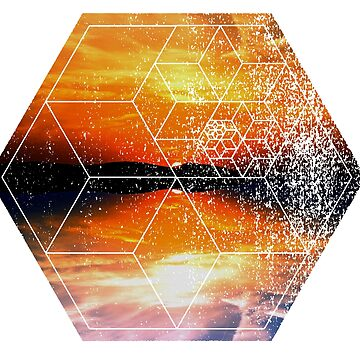 Sunset Water Reflection - Geometric Design by ddtk