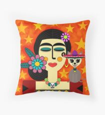 Sleeping Frida With Chihuahua Throw Pillow