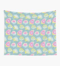Blue pattern with pink, yellow and blue flowers. Wall Tapestry